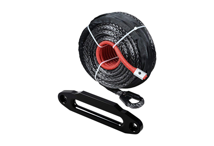 9. Set Black 95 x 3/8 inches Synthetic Winch Rope line Cable 205500 LBS.