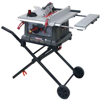 9. Craftsman Portable Table Saw with Mobile Wheeled Stand