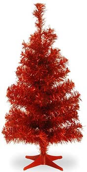 2. National Tree 2 Foot Red Tinsel Tree with Plastic Stand