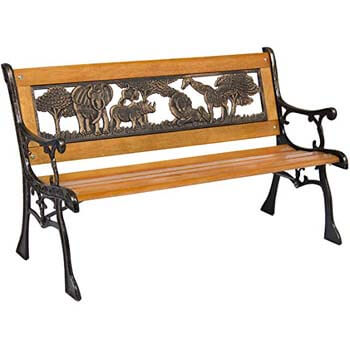 4. Best Choice Product Kids Outdoor Safari Animals Aluminum and Wood Park Bench, Brown