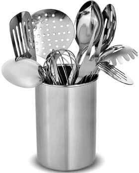 3) FineDine Premium Stylish 10-Piece Kitchen Utensil Set, Modern Stainless Steel Gadgets for Everyday Cooking - Turner, Spaghetti Server, Ladles, Spoons, Whisk, Meat Fork, and Tool Set Holder.