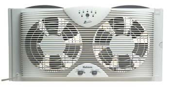 3. Holmes HAWF2043 Dual Blade Twin Window Fan with One Touch Thermostat