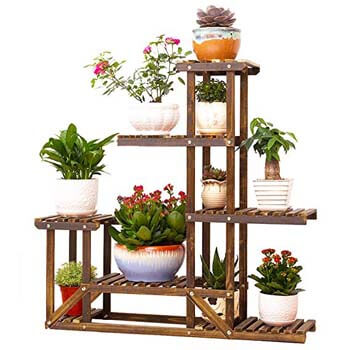 4. UNHO Wooden Flower Stands Plant Display Stand