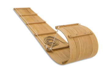 10. The Luxury Wooden Toboggan Snow Sled for Family