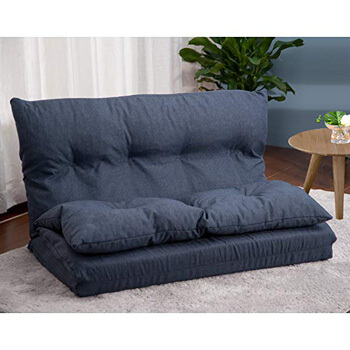 6: Merax. Adjustable Fabric Folding Chaise Lounge Sofa Chair Floor Couch (Navy 1)