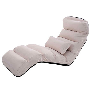 5: Giantex Folding Lazy Sofa Chair Stylish Sofa Couch Beds Lounge Chair W/Pillow (Beige)